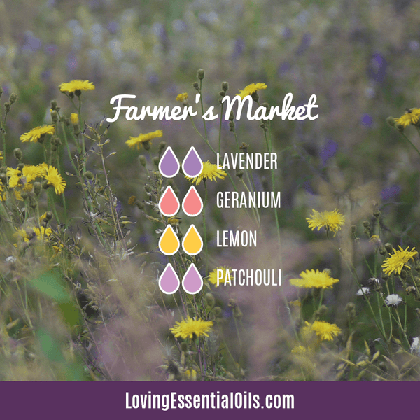 Patchouli Diffuser Blends - Deep Relaxation & Confidence by Loving Essential Oils | Farmer's Market with lavender, geranium, lemon and patchouli