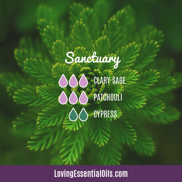 Patchouli Diffuser Blends - Deep Relaxation & Confidence by Loving Essential Oils | Sanctuary with clary sage, patchouli, and cypress