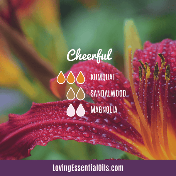 Sandalwood Diffuser Blends - Create A Peaceful Space by Loving Essential Oils | Cheerful with kumquat, sandalwood and magnolia