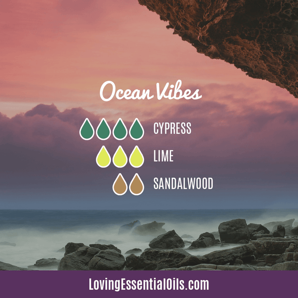 Sandalwood Diffuser Blends - Create A Peaceful Space by Loving Essential Oils | Ocean Vibes with cypress, lime and sandalwood