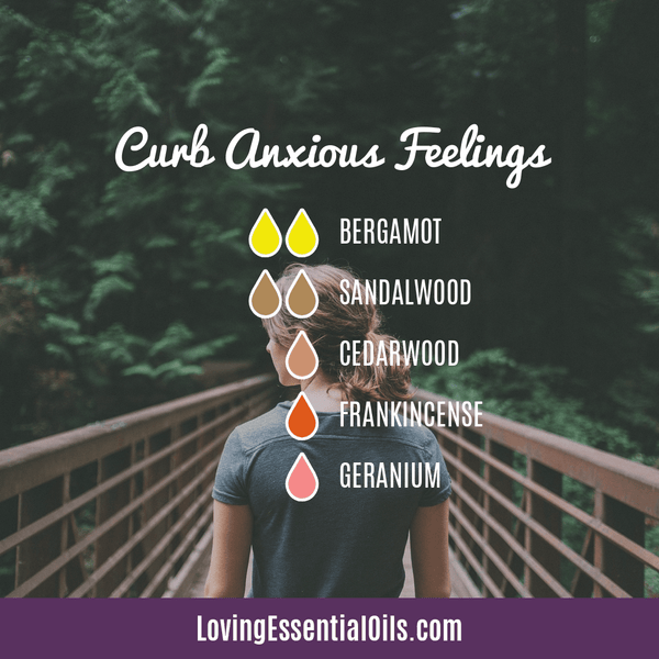 Sandalwood Diffuser Blends - Create A Peaceful Space by Loving Essential Oils | Curb Anxious Feelings with bergamot, sandalwood, cedarwood, frankincense, and geranium