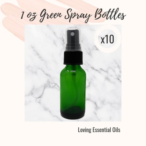 1 oz Green Glass Spray Bottles for 5 Essential Oil Room Spray Recipes - Dessert Inspired by Loving Essential Oils