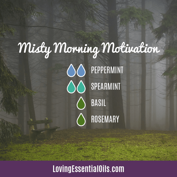 Spearmint Diffuser Blends - Minty Clean & Cool by Loving Essential Oils | Misty Morning Motivation with peppermint, spearmint, basil and rosemary