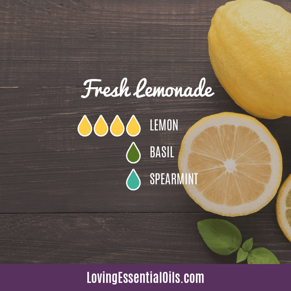 Summer Aromatherapy Diffuser Blends by Loving Essential Oils | Fresh Lemonade Diffuser Recipe with lemon, basil, and spearmint essential oil