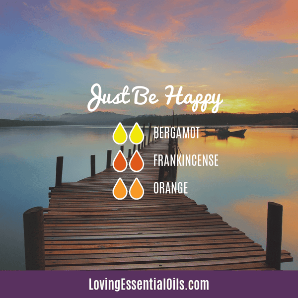 Essential Oil Diffuser Blends for Summertime by Loving Essential Oils | Just Be Happy Diffuser Blend with bergamot, frankincense, and orange essential oil