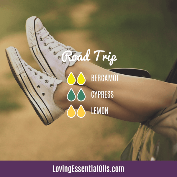 Summertime Diffuser Blends by Loving Essential Oils | Road Trip Diffuser Blend with cypress, lemon, and bergamot essential oil