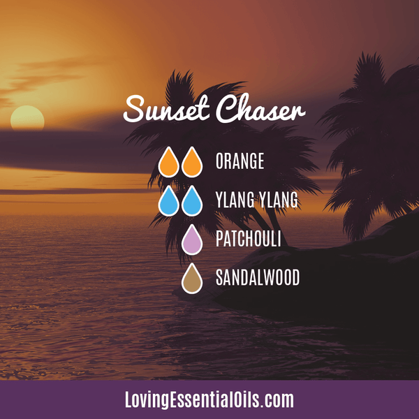 Summer Aromatherapy Diffuser Recipes by Loving Essential Oils | Sunset Chaser Diffuser Blend with orange, ylang ylang, patchouli and sandalwood essential oil