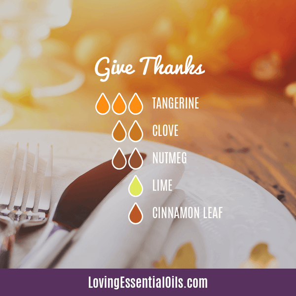 Diffuser Recipes for Thanksgiving - Celebrate & Share Your Gratitude! by Loving Essential Oils | Give Thanks with tangerine, clove, nutmeg, lime, and cinnamon leaf