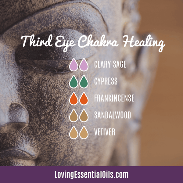 Third Eye Chakra Essential Oils - Foster Mindfulness & Intuition by Loving Essential Oils | Third Eye Chakra Healing with clary sage, ccypress, frankincense, sandalwood, and vetiver