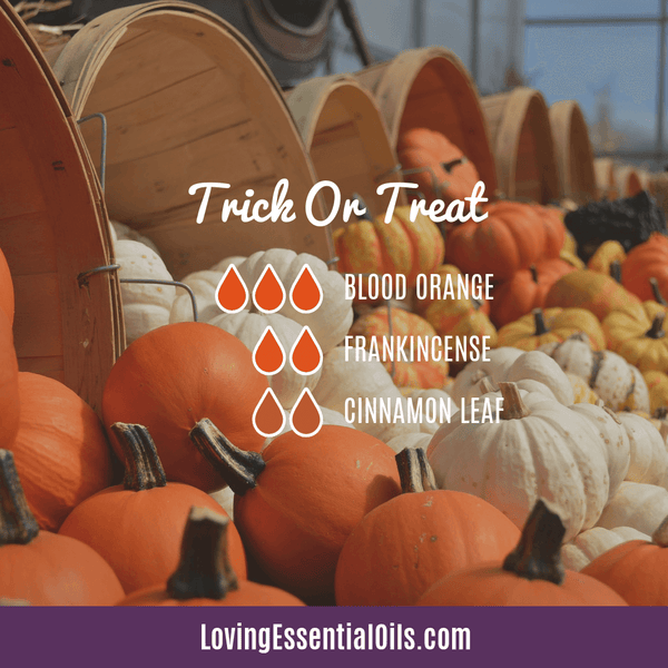 Trick or Treat Diffuser Blend for Halloween by Loving Essential Oils with blood orange, frankincense and cinnamon