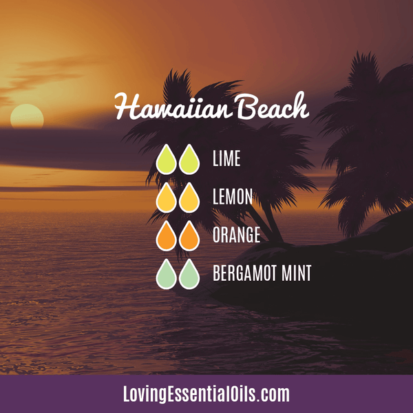 Tropical Essential Oils with Diffuser Blends by Loving Essential Oils | Hawaiian Beach with lime, lemon, orange, and bergamot mint