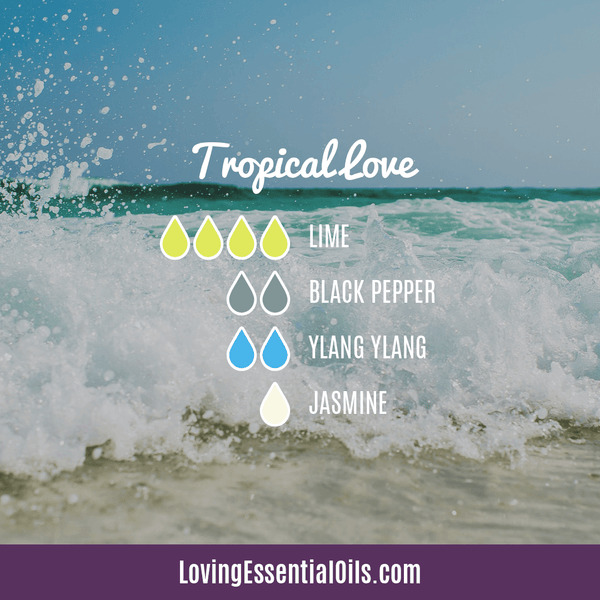 Tropical Essential Oils with Diffuser Blends by Loving Essential Oils | Tropical Love with lime, black pepper, ylang ylang, and jasmine