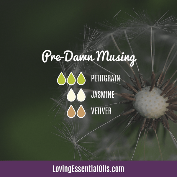 Vetiver Diffuser Blends - Clear Mind Chatter & Relax! by Loving Essential Oils | Predawn Musing with petitgrain, jasmine, and vetiver oil