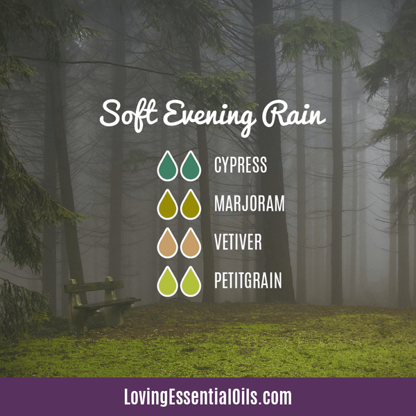 Vetiver Diffuser Blends - Clear Mind Chatter & Relax! by Loving Essential Oils | Soft Evening Rain with Cypress, marjoram, vetiver, and petitgrain oil