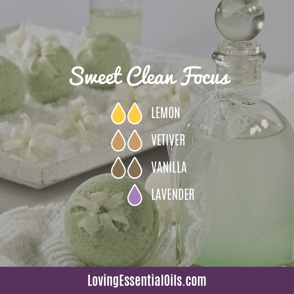 Vetiver Diffuser Blends - Clear Mind Chatter & Relax! by Loving Essential Oils | Sweet Clean Focus with lemon, vetiver, vanilla, and lavender oil