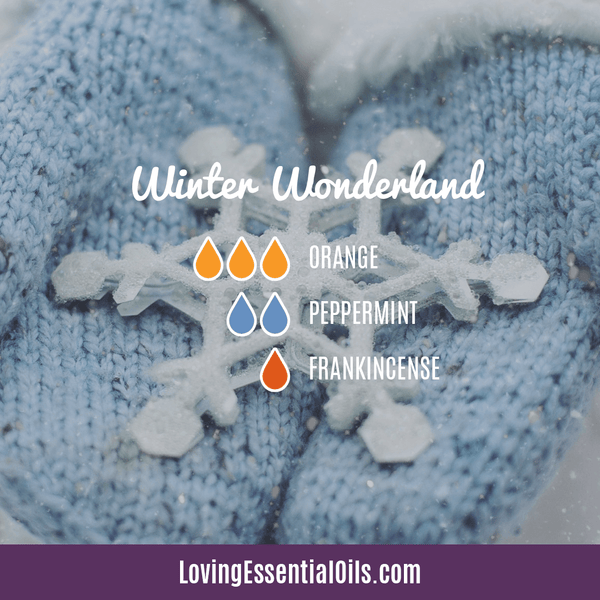 winter diffuser recipes - winter wonderland with orange, frankincense, and peppermint essential oil