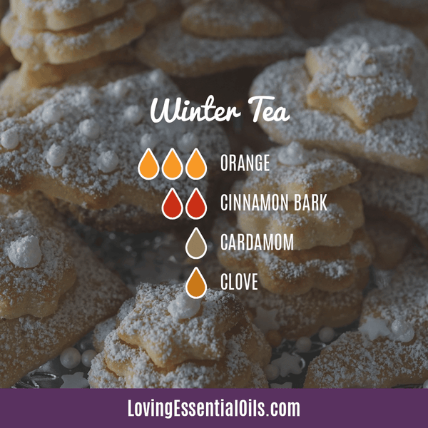 winter essential oil blends - winter tea with orange, cinnamon, cardamom, and clove