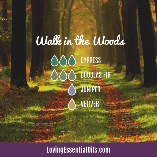 winter essential oil blends for diffuser - walk in the woods with cypress, douglas fir, juniper berry, and vetiver