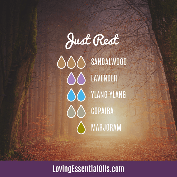 Ylang Ylang Diffuser Blends - Encourages Euphoria & Joy! by Loving Essential Oils | Just rest with sandalwood, lavender, ylang ylang, copaiba, and sweet marjoram