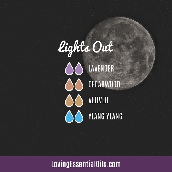 Ylang Ylang Diffuser Recipes by Loving Essential Oils | Lights Out with lavender, cedarwood, vetiver, and ylang ylang