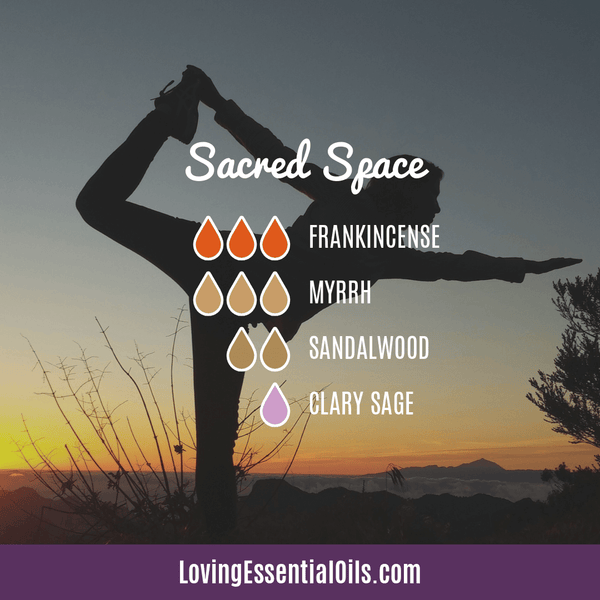 Yoga Diffuser Recipe by Loving Essential Oils - Sacred Space with frankincense, sandalwood, myrrh, and clary sage