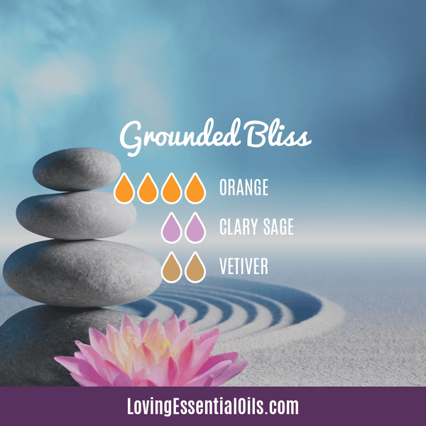 Yoga Essential Oil Diffuser Recipe by Loving Essential Oils - Grounded Bliss with sweet orange, clary sage, and vetiver