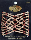 Zhoe Dark Wood w/ Red Beads Double Combs Item #10069
