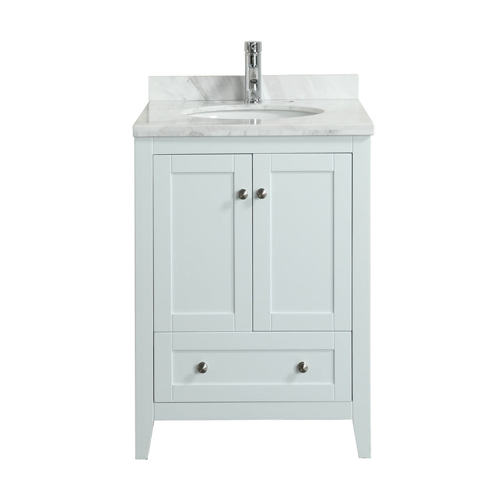 879586550f7 Lime 24″ Bathroom Vanity White with White Marble Carrara Top - Luxe Modern  Bath