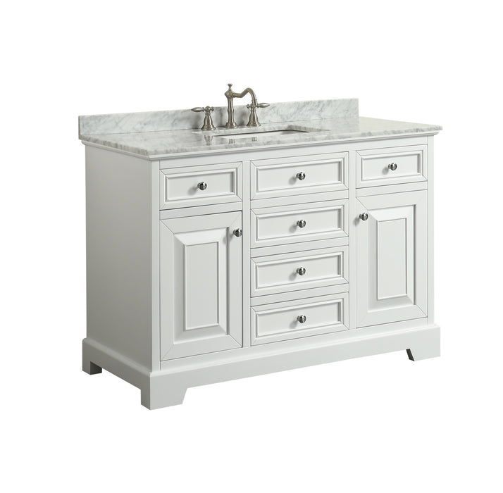 Eviva EVVN123-48WH Monroe 48″ White Bathroom Vanity with Carrara on white bathroom vanity with glass, one piece sink and vanity top, white on white cultured marble, bathroom cabinet with marble top, vessel sink vanity with granite top, white bathroom vanities with sink, white carrara marble, white cultured marble vanity top, white subway tile with dark vanity bathroom, white bathroom vanities with granite tops, double vanity with marble top, double sink bathroom vanity top, white bathroom vanity with granite top, 48 bathroom vanity without top, white marble bathroom vanity brown, 48 white bathroom vanity with top, 24 white bathroom vanity with top, white bathroom vanity with cabinet, white bathroom vanities with drawers, small bathroom with marble top,
