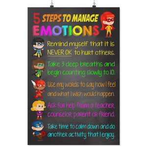 Manage Emotions Teacher Poster