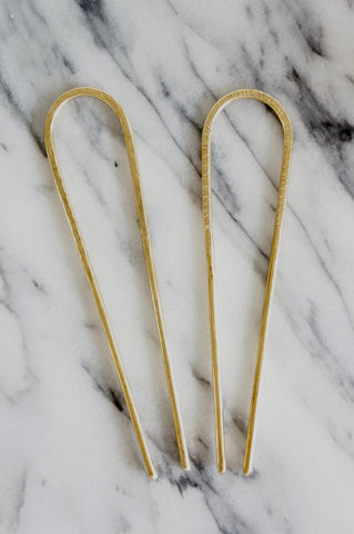 Brass Arch Round Hair Pick (TS240)