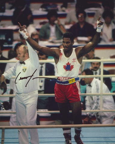 LENNOX LEWIS SIGNED 1984 OLYMPIC BOXING 8X10 PHOTO