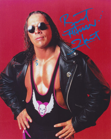 BRET THE HITMAN HART SIGNED WWE WWF 8X10 PHOTO