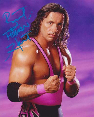 BRET THE HITMAN HART SIGNED WWE WWF 8X10 PHOTO 3