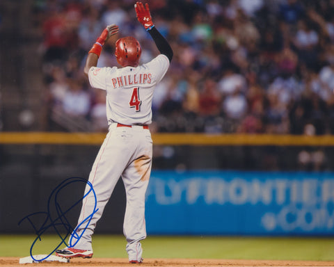 BRANDON PHILLIPS SIGNED CINCINNATI REDS 8X10 PHOTO