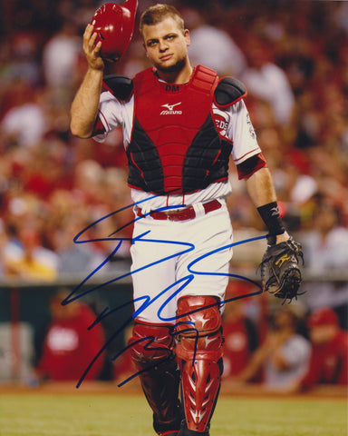 DEVIN MESORACO SIGNED CINCINNATI REDS 8X10 PHOTO
