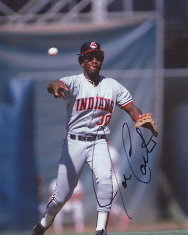 JOE CARTER SIGNED CLEVELAND INDIANS 8X10 PHOTO