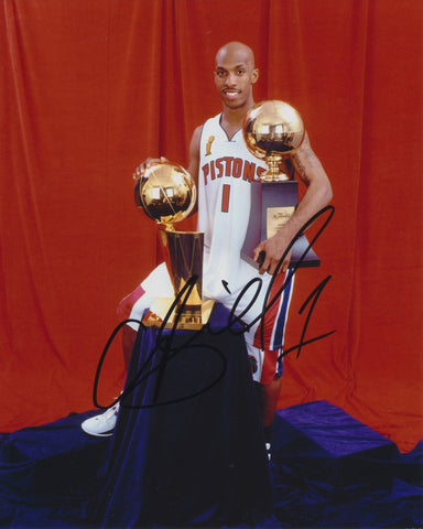 CHAUNCEY BILLUPS SIGNED DETROIT PISTONS 8X10 PHOTO