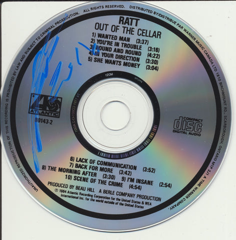 STEPHEN PEARCY SIGNED RATT OUT OF THE CELLAR CD DISK