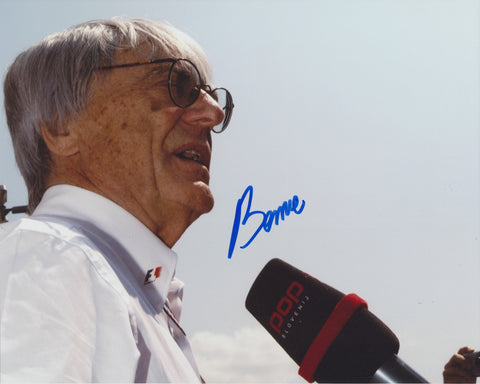 BERNIE ECCLESTONE SIGNED FORMULA 1 F1 8X10 PHOTO
