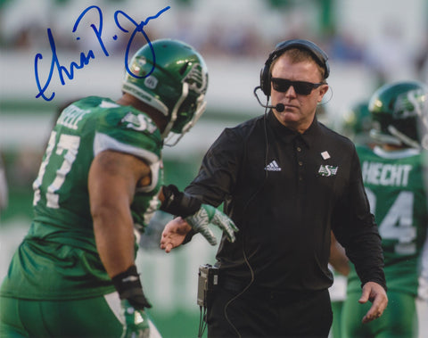 CHRIS JONES SIGNED SASKATCHEWAN ROUGHRIDERS 8X10 PHOTO