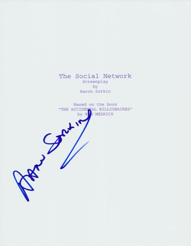 AARON SORKIN SIGNED THE SOCIAL NETWORK 164 PAGE FULL SCRIPT