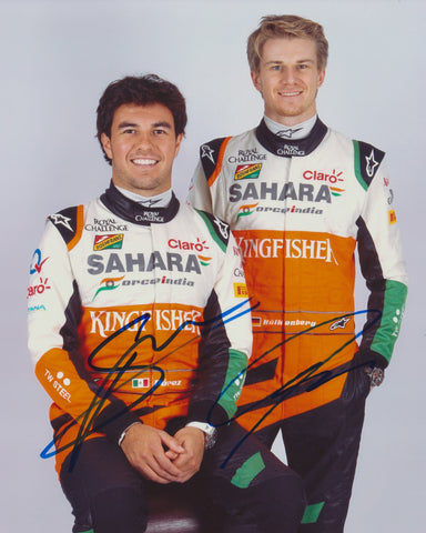 SERGIO PEREZ & NICO HULKENBERG SIGNED SAHARA FORCE INDIA F1 FORMULA 1 8X10 PHOTO 2