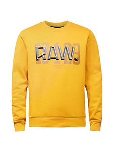 G-STAR RAW MENS YELLOW RAW DOT SWEATSHIRT - 8586