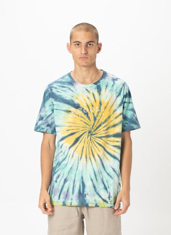 BARNEY COOLS SLATE TIE DYE EMBROIDERED TEE - 8586
