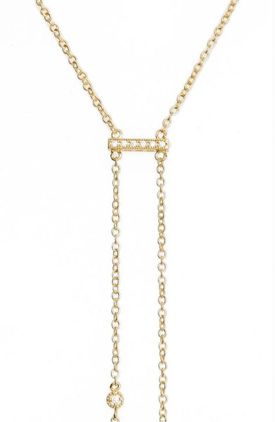 ETTIKA: 18K GOLD DOUBLE HANG Y NECKLACE - 85 86 eightyfiveightysix