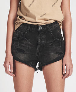 ONE TEASPOON: BANDITS MID WAIST BLACK DENIM SHORTS - 85 86 eightyfiveightysix