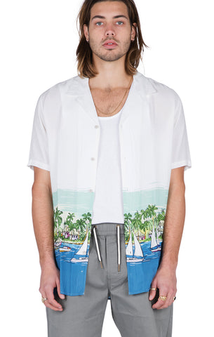 BARNEY COOLS: WHITE VACATION CAMP SHIRT