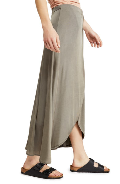 FREE PEOPLE FAUX WRAP OLIVE SKIRT - 8586