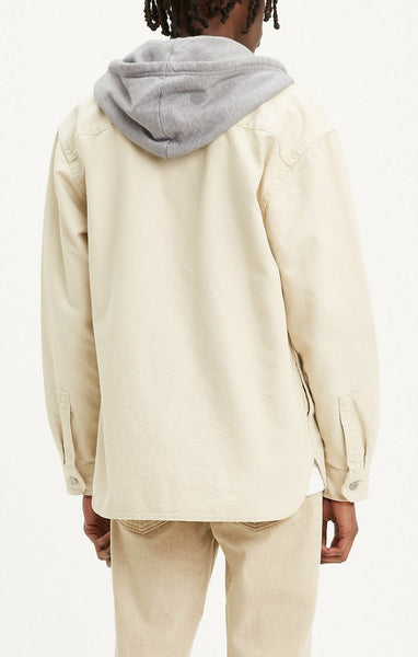LEVIS MENS CREAM HOODED SHIRT JACKET - 8586